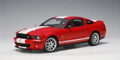 2007 Ford Mustang Shelby GT 500 Red White Stripes 1/18th Scale byAUTOart