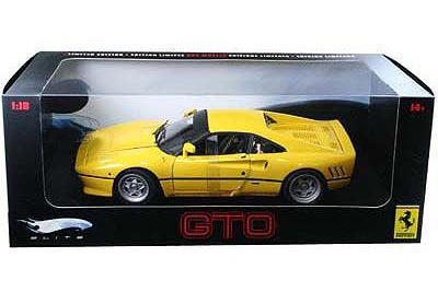 Ferrari 288 GTO Yellow 1/18 Scale by Hot Wheels ELITE Edition RARE FIND