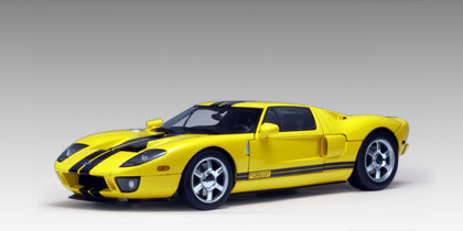 Ford GT 2005 Yellow with Black Stripes 1/18th Scale by AUTOart RARE