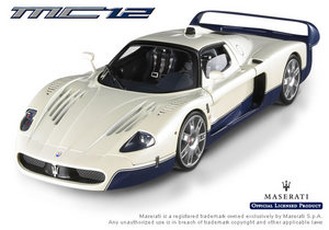 Maserati MC12 White with Blue Road Car 1/18th Scale by Hot Wheels ELITE EDITION