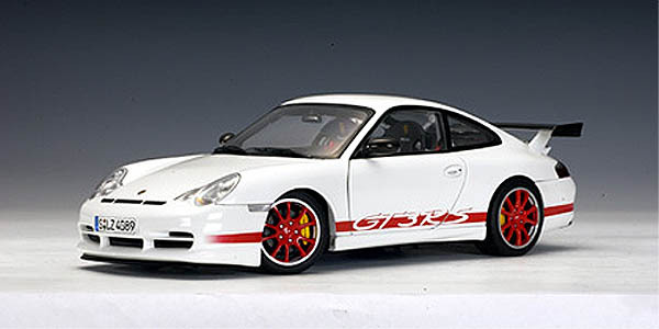 Porsche 911 (996) Carrera GT3 RS White Red Stripes 1/18 Scale by AUTOart