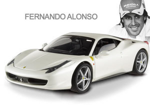 Ferrari 458 Italia Pearl White Celebrities Ferrari Collection Fernando Alonso Special 1/18th Scale by HOT WHEELS ELITE