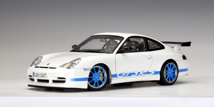 Porsche 911 (996) Carrera GT3 RS White Blue Stripes 1/18 Scale by AUTOart