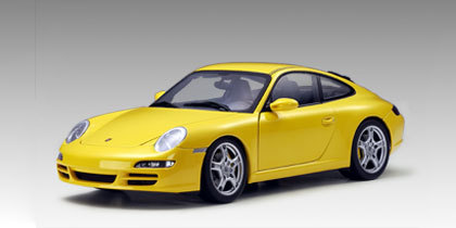 Porsche 911 S (997)  Carrera Coupe Yellow 1/18 Scale by AUTOart