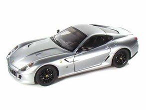 Ferrari 599 GTB Fiorano Silver RARE FERRARI COLLECTION 1/18 Scale by Hot Wheels ELITE Edition