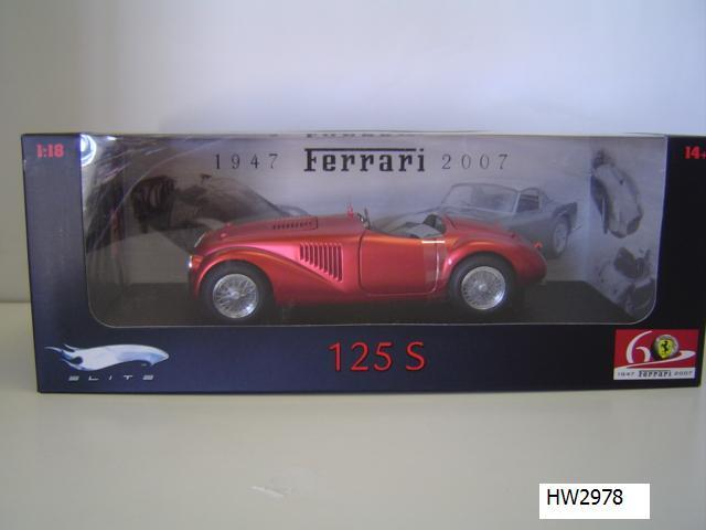 Ferrari 125S Red 60th Special 1/18 Scale by Hot Wheels ELITE Edition