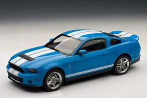 2010 Ford Mustang SHELBY GT500 Grabber Blue with White Stripes AUTOart 1:18