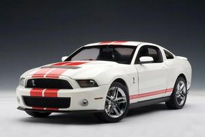 2010 Ford Mustang SHELBY GT500 White with Red Stripes AUTOart 1:18