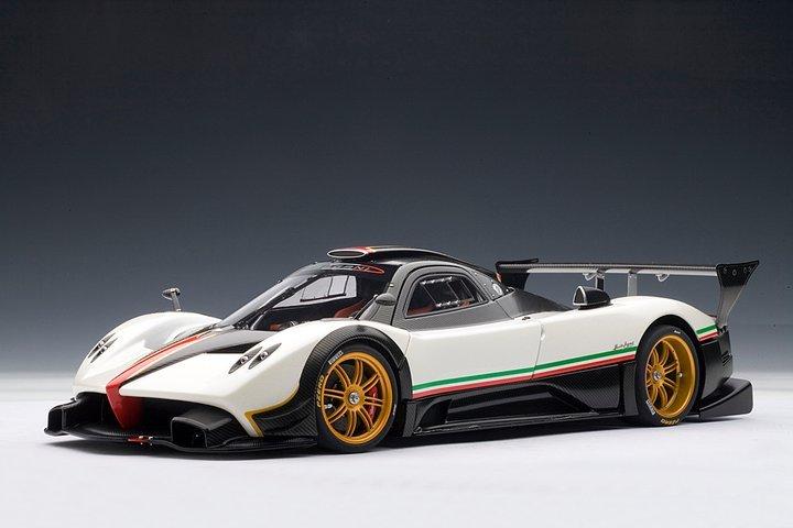 PAGANI ZONDA R CARBON FIBRE WHITE ITALIAN STRIPE 1/18 Scale by AUTOart #78262