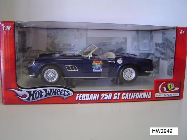 Ferrari 250 California Spider Blue by Hot Wheels 60th Relay Edition 1/18 Scale