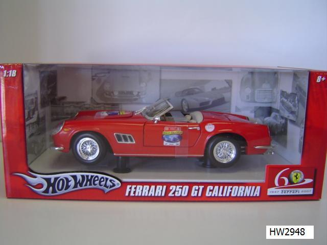 Ferrari 250 California Spider Red by Hot Wheels 60th Relay Edition 1/18 Scale