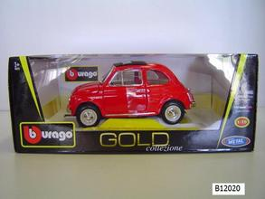 Fiat 500 Red CLOSED ROOF 1/18 Scale by Burago