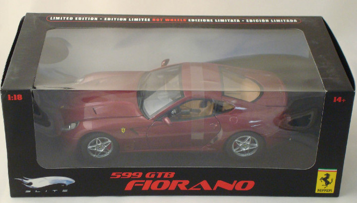 Ferrari F 599 GTB Fiorano Burghandy 1/18 Scale by Hot Wheels ELITE Edition