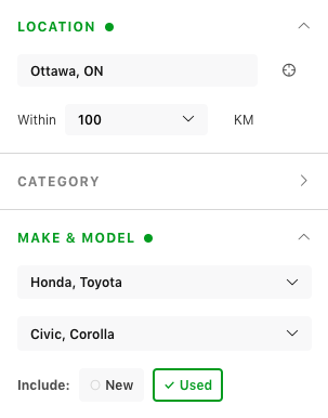 Screen shot of carpages.ca search tool.