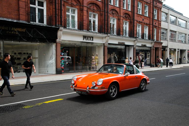 Orange Classic Porsche 911 Driving