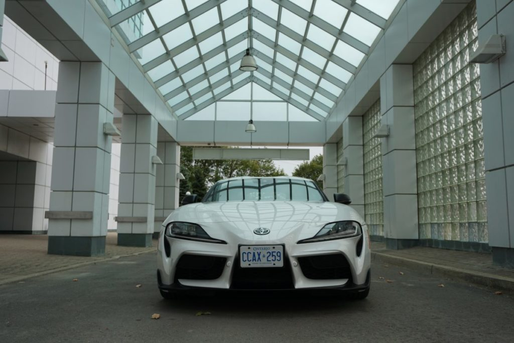 Front of white toyota supra gr