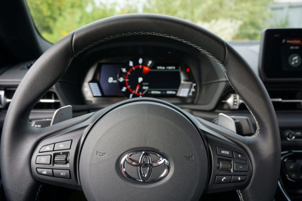 interior steering wheel of toyota supra gr 2020