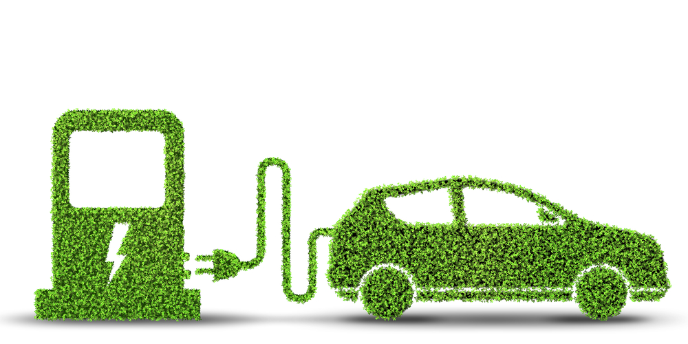 Green Electric car effects on the environment concept