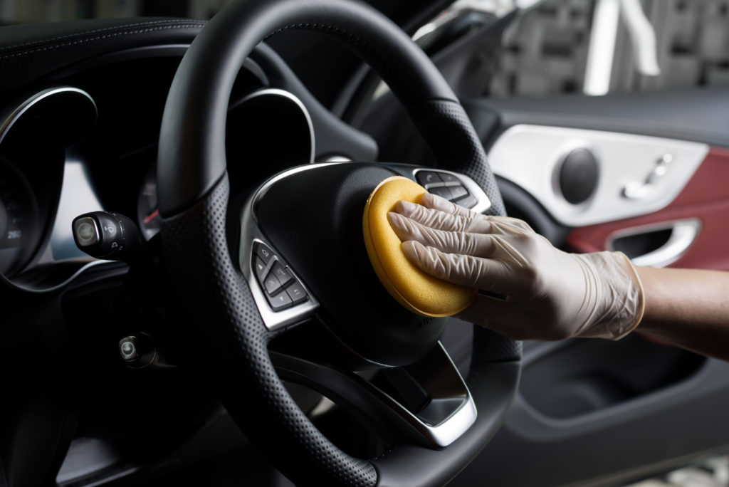 cleaning car steering wheel